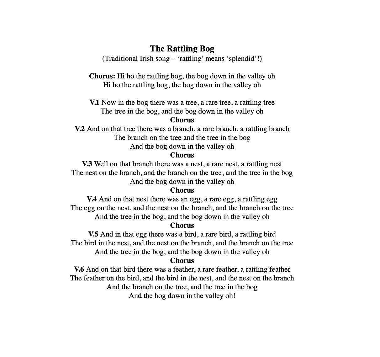 The Rattling Bog Songsheet